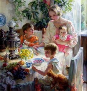 П. Лучанова. За обедом. Автопортрет с детьми